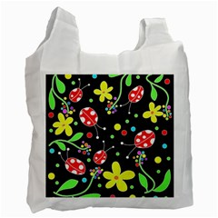 Flowers And Ladybugs Recycle Bag (one Side) by Valentinaart