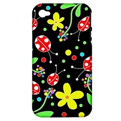 Flowers And Ladybugs Apple Iphone 4/4s Hardshell Case (pc+silicone) by Valentinaart