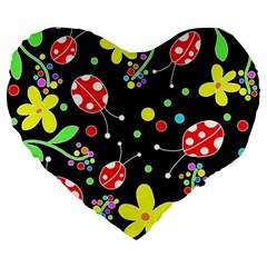 Flowers And Ladybugs Large 19  Premium Heart Shape Cushions by Valentinaart