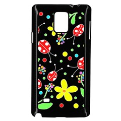 Flowers and ladybugs Samsung Galaxy Note 4 Case (Black) by Valentinaart