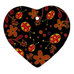 Flowers And Ladybugs 2 Ornament (heart)  by Valentinaart