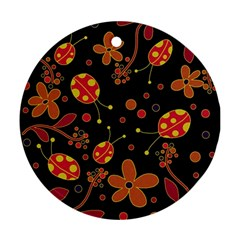 Flowers And Ladybugs 2 Round Ornament (two Sides)  by Valentinaart