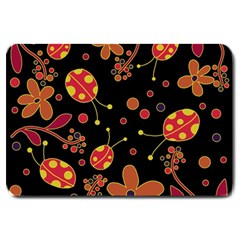 Flowers And Ladybugs 2 Large Doormat  by Valentinaart