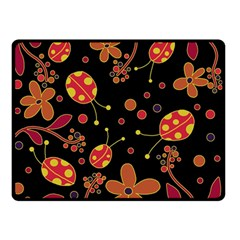 Flowers And Ladybugs 2 Double Sided Fleece Blanket (small)  by Valentinaart