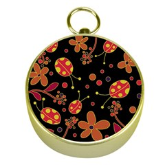 Flowers And Ladybugs 2 Gold Compasses by Valentinaart
