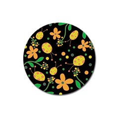 Ladybugs And Flowers 3 Magnet 3  (round) by Valentinaart