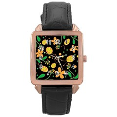 Ladybugs And Flowers 3 Rose Gold Leather Watch  by Valentinaart