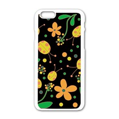 Ladybugs And Flowers 3 Apple Iphone 6/6s White Enamel Case by Valentinaart