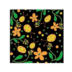 Ladybugs And Flowers 3 Small Satin Scarf (square) by Valentinaart