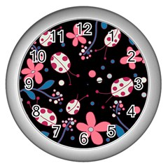 Pink Ladybugs And Flowers  Wall Clocks (silver)  by Valentinaart
