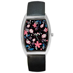Pink Ladybugs And Flowers  Barrel Style Metal Watch by Valentinaart