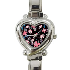 Pink Ladybugs And Flowers  Heart Italian Charm Watch by Valentinaart