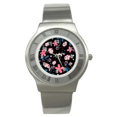 Pink Ladybugs And Flowers  Stainless Steel Watch by Valentinaart