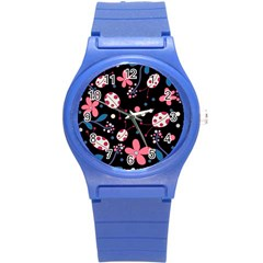 Pink Ladybugs And Flowers  Round Plastic Sport Watch (s) by Valentinaart