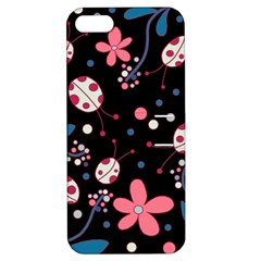 Pink Ladybugs And Flowers  Apple Iphone 5 Hardshell Case With Stand by Valentinaart
