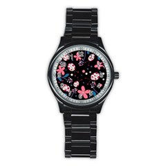 Pink Ladybugs And Flowers  Stainless Steel Round Watch by Valentinaart