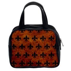 Royal1 Black Marble & Brown Marble Classic Handbag (two Sides) by trendistuff