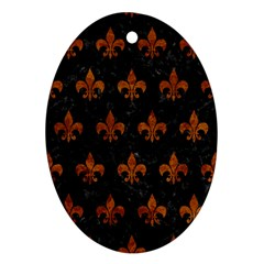 Royal1 Black Marble & Brown Marble (r) Oval Ornament (two Sides)