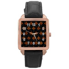Royal1 Black Marble & Brown Marble (r) Rose Gold Leather Watch  by trendistuff