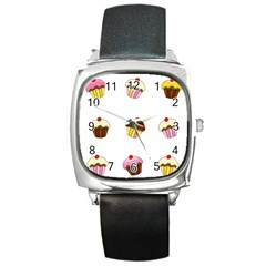 Colorful Cupcakes  Square Metal Watch by Valentinaart
