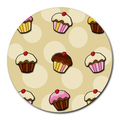 Colorful Cupcakes Pattern Round Mousepads by Valentinaart