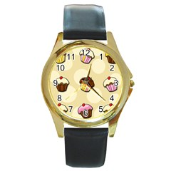 Colorful Cupcakes Pattern Round Gold Metal Watch by Valentinaart