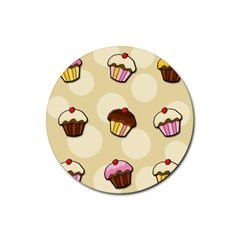Colorful Cupcakes Pattern Rubber Coaster (round)  by Valentinaart