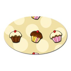Colorful Cupcakes Pattern Oval Magnet by Valentinaart