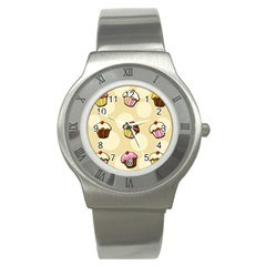 Colorful Cupcakes Pattern Stainless Steel Watch by Valentinaart
