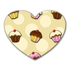 Colorful Cupcakes Pattern Heart Mousepads by Valentinaart