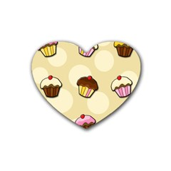 Colorful Cupcakes Pattern Rubber Coaster (heart)  by Valentinaart