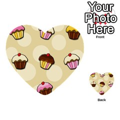 Colorful Cupcakes Pattern Multi Purpose Cards (heart)  by Valentinaart