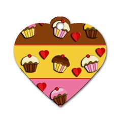 Love Cupcakes Dog Tag Heart (one Side) by Valentinaart