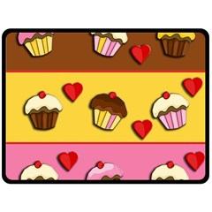 Love Cupcakes Double Sided Fleece Blanket (large)  by Valentinaart