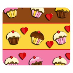 Love Cupcakes Double Sided Flano Blanket (small)  by Valentinaart