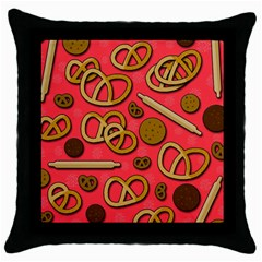 Bakery Throw Pillow Case (black) by Valentinaart