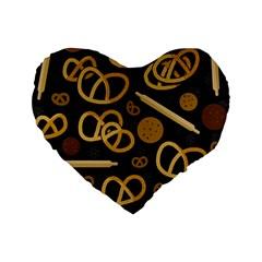 Bakery 2 Standard 16  Premium Heart Shape Cushions by Valentinaart