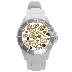 Bakery 3 Round Plastic Sport Watch (l) by Valentinaart