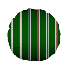 Green Line Standard 15  Premium Flano Round Cushions by AnjaniArt