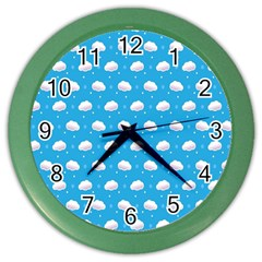 Seamless Fluffy Cloudy And Sky Color Wall Clocks by AnjaniArt