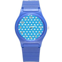 Seamless Fluffy Cloudy And Sky Round Plastic Sport Watch (s) by AnjaniArt
