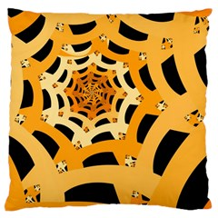 Spider Helloween Yellow Large Cushion Case (One Side) by AnjaniArt