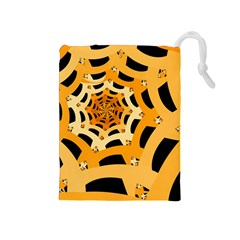 Spider Helloween Yellow Drawstring Pouches (medium)  by AnjaniArt