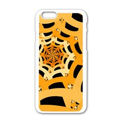 Spider Helloween Yellow Apple Iphone 6/6s White Enamel Case by AnjaniArt