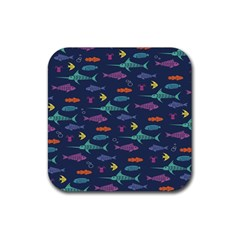 Twiddy Tropical Fish Pattern Rubber Coaster (square)  by AnjaniArt