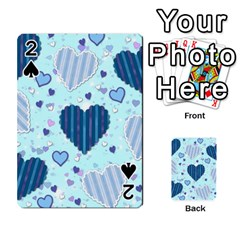 Light And Dark Blue Hearts Playing Cards 54 Designs  by LovelyDesigns4U