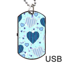 Light And Dark Blue Hearts Dog Tag Usb Flash (two Sides)  by LovelyDesigns4U