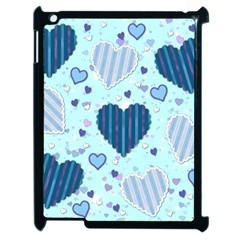 Light And Dark Blue Hearts Apple Ipad 2 Case (black) by LovelyDesigns4U