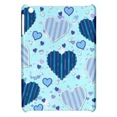 Light And Dark Blue Hearts Apple Ipad Mini Hardshell Case by LovelyDesigns4U