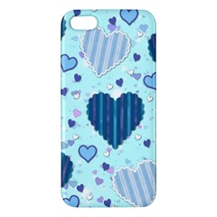Light And Dark Blue Hearts Apple Iphone 5 Premium Hardshell Case by LovelyDesigns4U